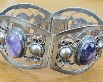 Hecho en Mexico Far Fan Vintage Mexican Sterling Silver Amethyst Bracelet Farfan 4 panel Jewelry 925