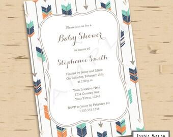 Tribal Arrow Baby Shower Invitation You Edit- Boho Navy Orange Green DIY INSTANT DOWNLOAD Editable Pdf TR003
