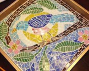Bluebird Mosaic Tray (Sample)