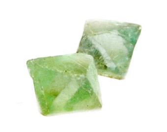 Fluorite Octahedron Crystals (2 pieces) - Raw Fluorite - Green Fluorite Gemstone -Rough Gems - Crystal Healing
