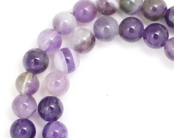 Banded Amethyst Beads - 6mm Round