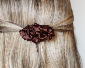 Brown small fabric french barrette hair clip