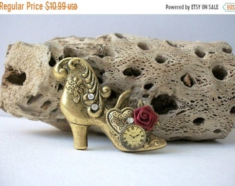 ON SALE Vintage Oxidized Brass Old Fashioned Shoe Boot Rhinestone Inlays Pin 41218