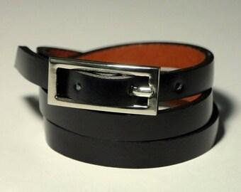 Black Leather Bracelet Wrap Bracelet Leather Cuff  Bracelet Women Leather Bracelet with Buckle Clasp
