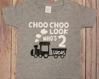 Birthday Shirt choo choo Look Who's Two second birthday train shirt choo choo two shirt train Birthday Kids Birthday Shirts