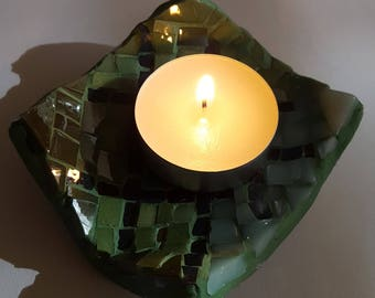 Square candle holder mosaic; mosaic tea light holder glass