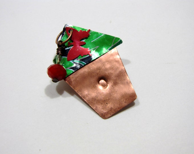 Bird House Brooch Pin, Handmade, Recycle Copper, Recycled Soda Can, Pearl and Ruby Quartz