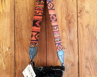 Adjustable Camera Strap Hmong Fabric Woven Camera Strap Camera Strap Ethnic dslr camera strap, nikon camera strap, canon camera strap, Boho