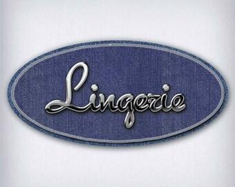 Sticker style Denim Lingerie 001 door sign
