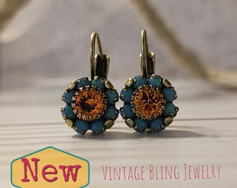 Swarovski flower ss39 earrings - Turquoise and Tangerine flowers with brass leverbacks
