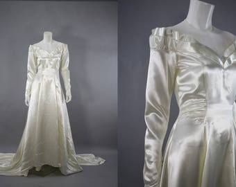 1940s Wedding Dress, Slipper Satin 40s Wedding Gown, Ivory Wedding Dress, Long Sleeve, Cathedral Train,Vintage Princess Style, Size S