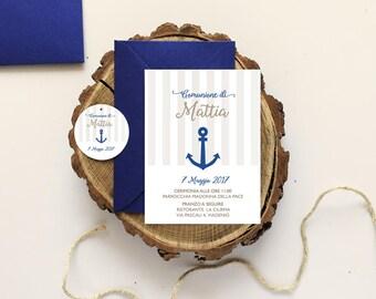 Printble 'Anchor' First communion invitation