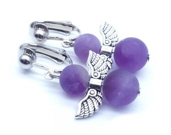 Genuine Amethyst Angel Beaded Dangle Clip On Earrings - Non-Pierced Ears