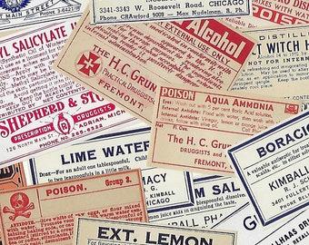 16 Antique Pharmacy Labels, Apothecary- Medicine- Poison Bottle Labels, Halloween Decor, Ephemera