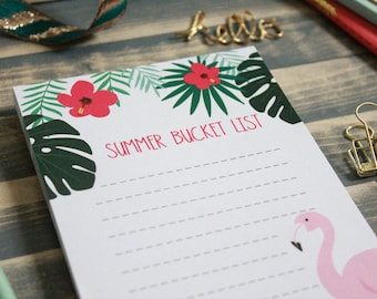 Summer Bucket List Notepad   Flamingo Tropical Memo Pad Shopping Note Pad   Gift for Her   Vacation List   Teacher Gift   Stocking Stuffer