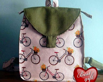 Chaki Print MAXI Backpack, Canvas Backpack, Bicycles and Flowers, Printed Fabric, Women's Backpack