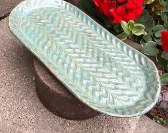 Ceramic Tray, Stamped Pottery Tray, Ceramic Platter