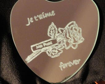 Heart engraved mirror