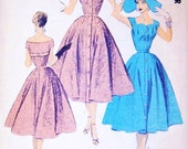 50s Advance Import Adaptation Dress Pattern 92 Gorgeous Cocktail Party Dress Worn On or Off Shoulder Bust 32 Vintage Sewing Pattern