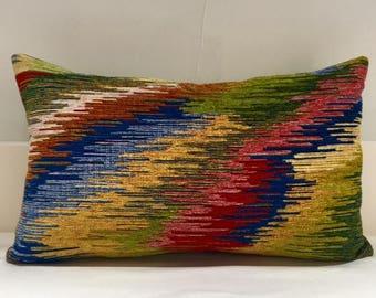 Boho Pillow Cover, Chenille Pillow, Colourful Pillow, Designer Pillow, Throw Pillows, Chenille Cushions, Green Modern Handmade Pillow Cover