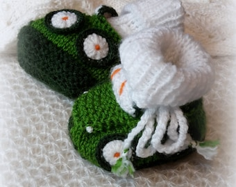 Newborn Baby Cars Booties Green Knitted Baby Shoes Newborn Boy Booties Hand knit Green Newborn Baby Socks Car /0-6 month