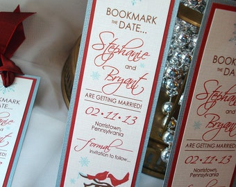 Winter Love Birds Branches and Snowflakes Wedding Save the Date Bookmark... SAMPLE
