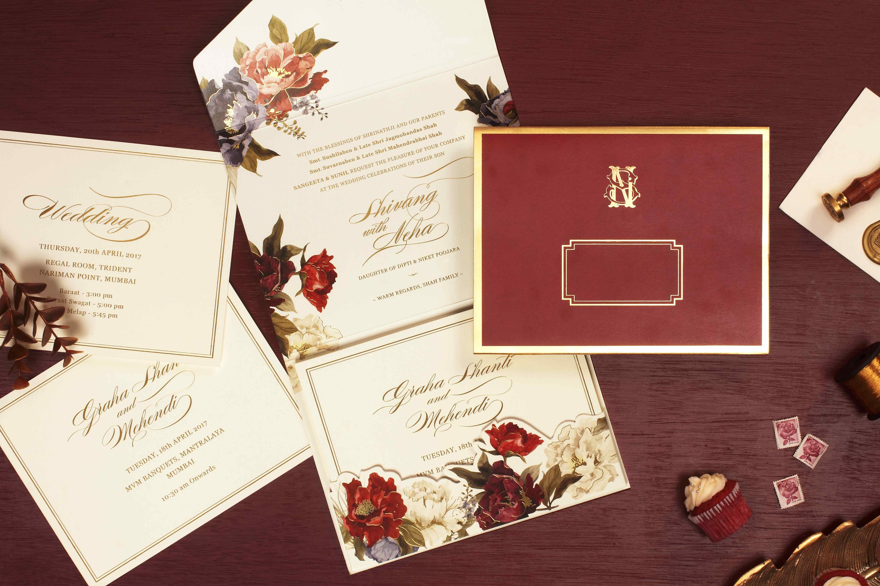 Red Jewel Toned Modern Peel and Seal Folder Style Wedding