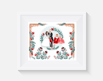 The Princess and the Pea Happy Ending Giclee Art Print 8x10