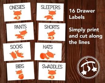 Printable Nursery Drawer Labels, baby fox drawer labels, nursery organization, nursery closet, woodland nursery, baby boy nursery