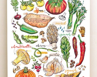 Fall Garden Print. Illustration. Autumn. Kitchen decor. Food art.