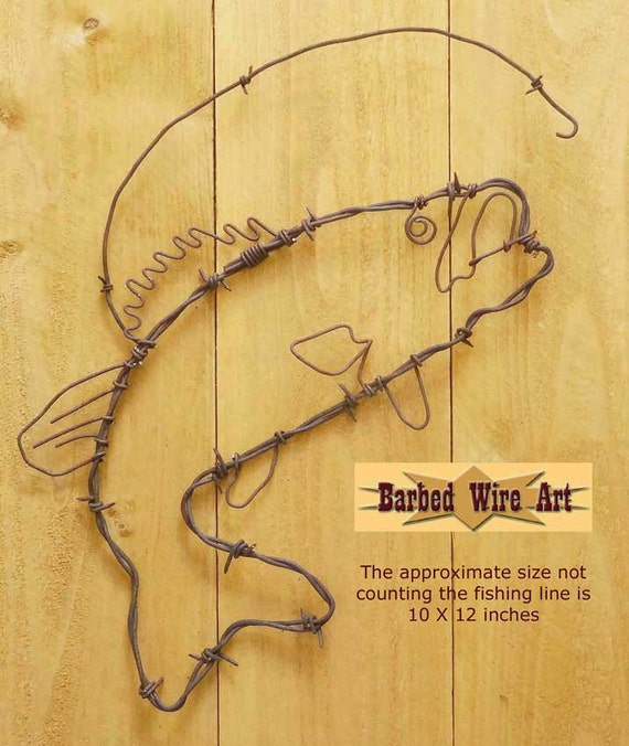 Bass Fish Handmade metal decor barbed wire art country