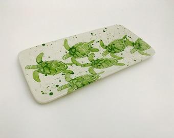 Platter. Sea Turtle. Sea Turtle Babies Sushi Platter. Sea. Turtle. Green. Handmade by Sara Hunter.