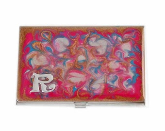 Business Card Case in Hand Painted Enamel Pink Peacock with Monogram Metal Wallet Personalized and Custom Color Options