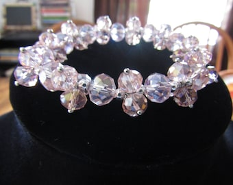 Pink Crystal Chunky Beaded Bracelet #74