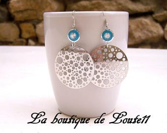 Earrings round blue turquoise silver hole print