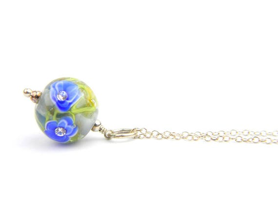 Art Glass Pendant - Medium Grey and Cobalt Art Glass Bead Sterling Silver Pendant - Classic Collection