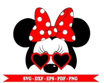 Minnie mouse with svg glasses, glasses with hearts, clip art in digital format svg, eps, dxf, png, pdf. For Silhouette Cameo, Cricut, vinyl