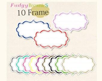 ON SALE Digital frame  Wide Square Frames Clip Art, white background frame, digital scrapbooking frames.A-26, Instant Download