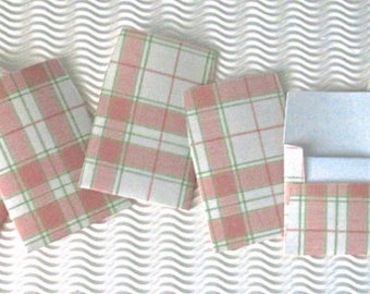 20 teeny tiny envelope note card sets handmade pink plaid miniature square party favor weddings stationery guest book