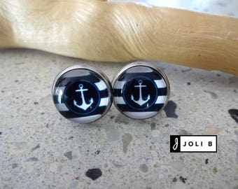 Earrings stainless steel - anchors - Stainless earrings - anchor glass Cabochon