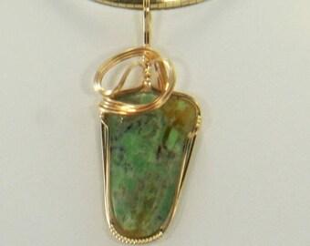 Ocean Jasper Wire Wrap Pendant Gold Wire Wrap Jewelry Handmade, Wire Wrap Necklace, Wire Wrap Stone, 14k Gold Fill Pendant Necklace