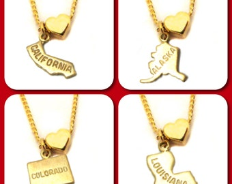 Gold Plated State Love Charm Necklace - 18 Inches