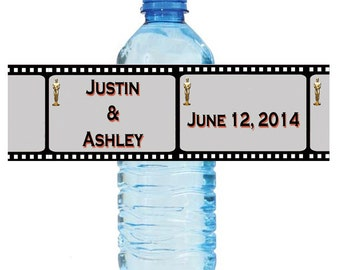 """Movie Theme Style Wedding Anniversary Shower Water Bottle Labels Great for Engagement Party 8""""x2"""" Birthday Celebrations School Play"""