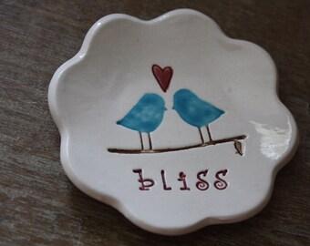 Ceramic Ring Bowl Ring Dish Love Birds Bliss Design Jewelry Holder Trinket Dish Gift Boxed