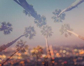 Los angeles photography, california photography, LA decor, city lights, double exposure, palm tree photograph, large wall art, palm trees