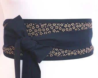 Japanese sakura cherry blossom ditsy flower pattern Obi belt indigo dark navy blue  - kimono yukata dress robe fabric waist sash with ties