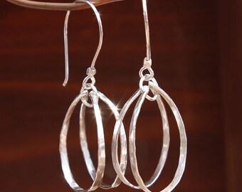 Oval Hoop Earrings, Sterling Oval Hoops, Sterling Silver Dangle Earrings, Hammered Silver Hoops, Hammered Silver, Lightweight Earrings
