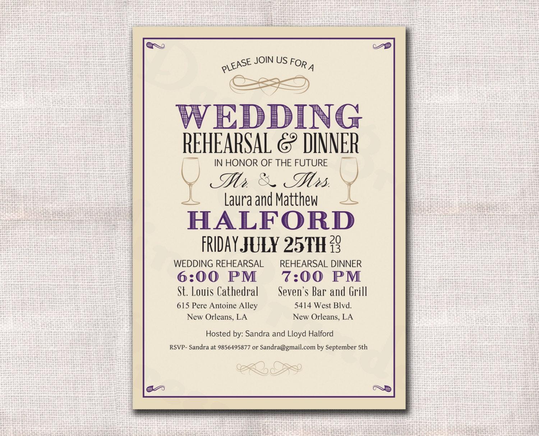 Wedding Rehearsal Dinner invitation custom printable