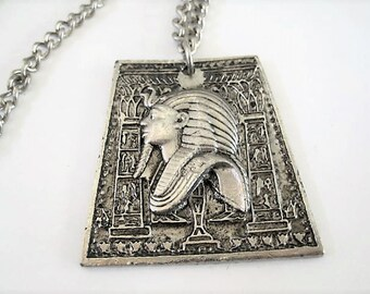 Pharaoh Pendant Necklace, Egyptian Revival, 24 Inch Silver Tone Chain
