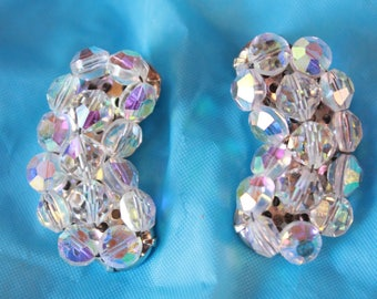 Crystal Crescent Clip On Earrings